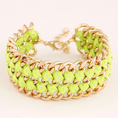 Famale Fluorescent Green Multilayer Chain Weave Design Alloy Korean Fashion Bracelet