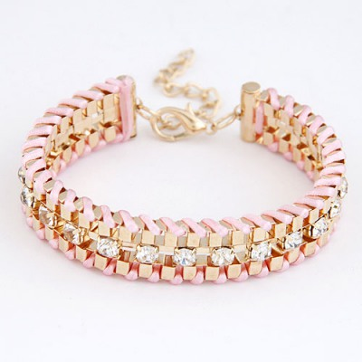 Military Pink Metal Weave Decorated With Diamond Design Alloy Korean Fashion Bracelet