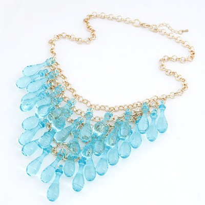 Authentic Light Blue Multilayer Transparent Gourd Decorated Alloy Chains