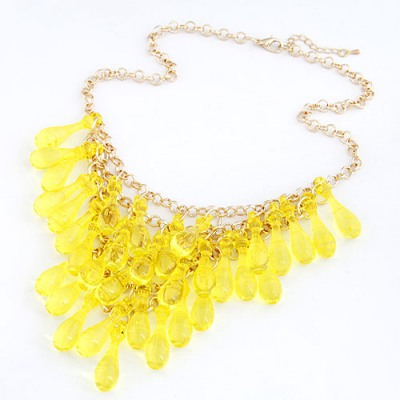Recycled Yellow Multilayer Transparent Gourd Decorated Alloy Chains