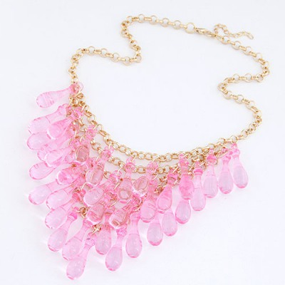 Gored Light Plum Red Multilayer Transparent Gourd Decorated Alloy Chains