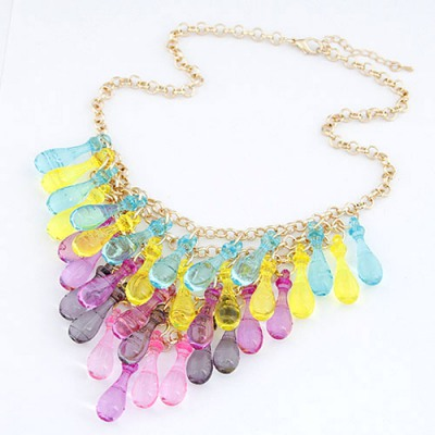 Buckle Multicolor Multilayer Transparent Gourd Decorated Alloy Chains