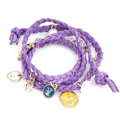 Fashion Purple Multielement Decorated Multilayer Design Leather Korean Fashion Bracelet