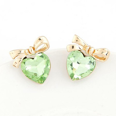 Display Green Heart Shape Bowknot Decorated Design Alloy Stud Earrings