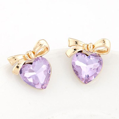 Online Purple Heart Shape Bowknot Decorated Design Alloy Stud Earrings