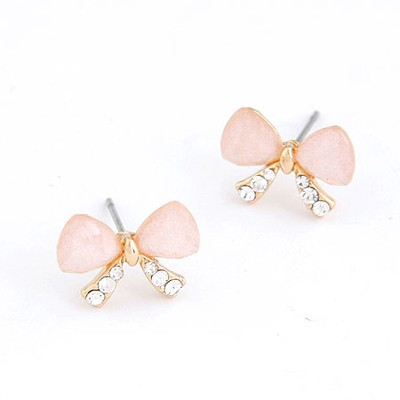 Corporate Pink Butterfly Shape Simple Design Alloy Stud Earrings