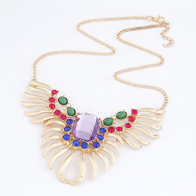 Claddagh Multicolor Seashell Shape With Diamond Design Alloy Bib Necklaces