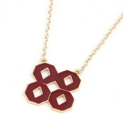 Hanging Clart-Red Double 8 Shape Pendant Design Alloy Chains