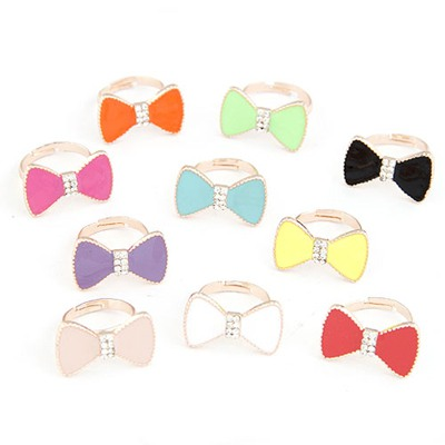 Packaging Color Will Be Random Bowknot With Diamond Design Alloy Korean Rings