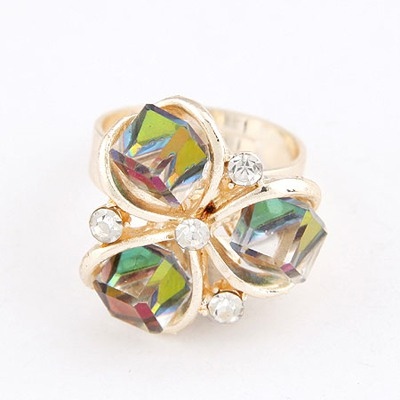 Shopping Multicolor Cube Shape Crystal Decorated Design Alloy Korean Rings