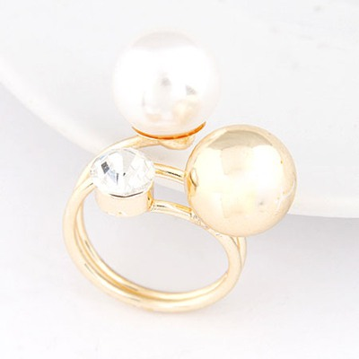Contempora White Two Big Pearls Decorated Design Alloy Korean Rings