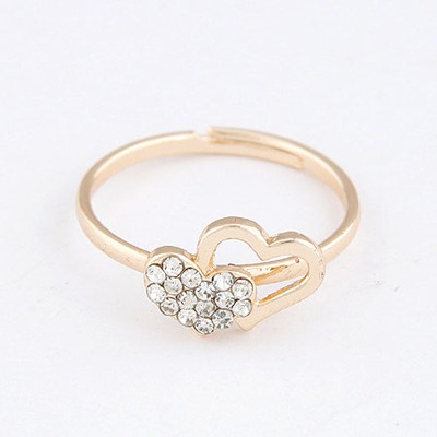Crucifix Gold Color Heart Linked To Heart Design Alloy Korean Rings