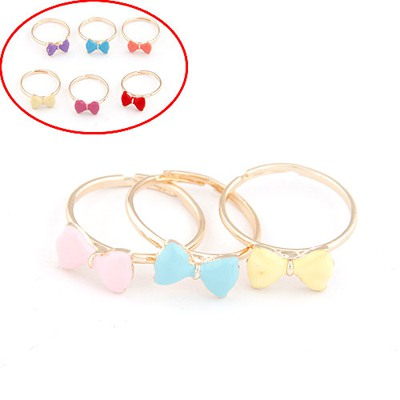 Bead Color Will Be Random Bowknot Decorated Three Combination Alloy Korean Rings