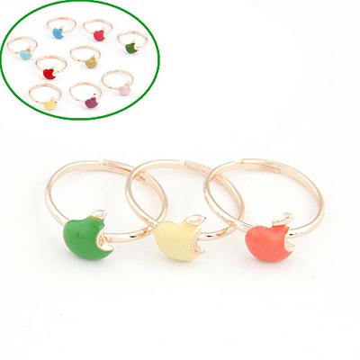 Funky Color Will Be Random Apple Decorated Three Combination Alloy Korean Rings