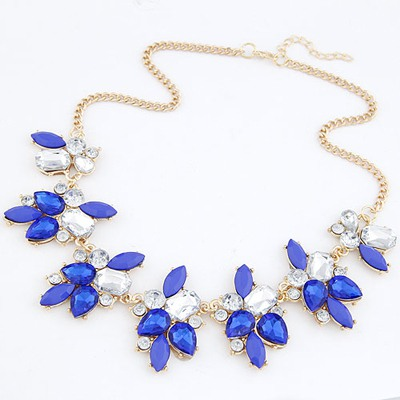 Baroque Sapphire Geometric Shape Gemstone Decorated Alloy Bib Necklaces