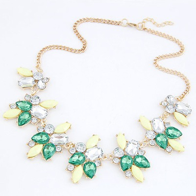 Locket Green Geometric Shape Gemstone Decorated Alloy Bib Necklaces