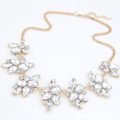 Stronglite White Geometric Shape Gemstone Decorated Alloy Bib Necklaces