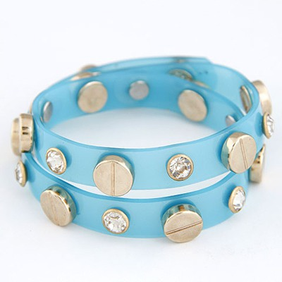 Bulk Blue Double Layer Metal&Diamond Decorated Cellophane Tape Korean Fashion Bracelet