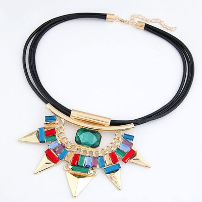 Oversized Gold Color Rivet Shape Pendant Design Alloy Bib Necklaces