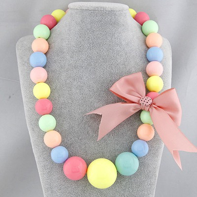 High Pink Bowknot Decorated Simple Design Rosin Beaded Necklaces