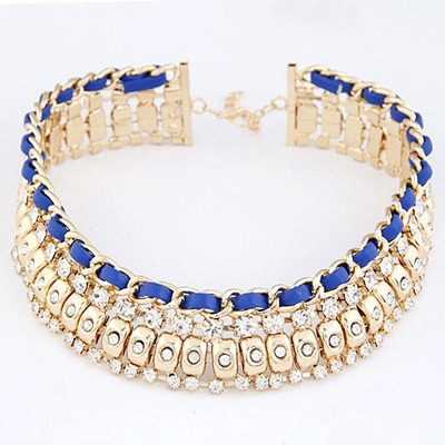 Fashion Blue Diamond Weave Wide Design Alloy Bib Necklaces