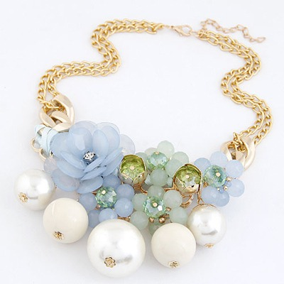 Art Light Blue Pearls&Flower Decorated Design Alloy Bib Necklaces