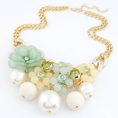 Bridal Light Green Pearls&Flower Decorated Design Alloy Bib Necklaces