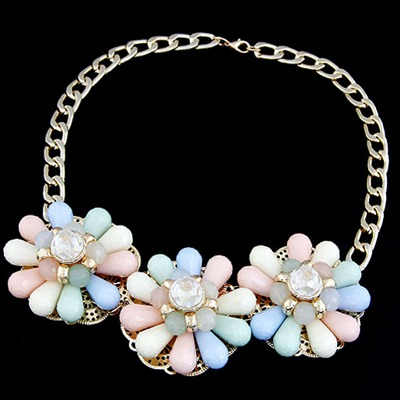 Cocktail Multicolor Three Big Flowers Decorated Alloy Bib Necklaces