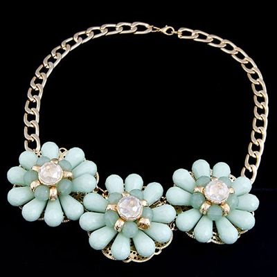 Stylish Light Blue Three Big Flowers Decorated Alloy Bib Necklaces