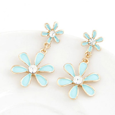 Hemp Blue Six Petal Flower Pendant Sweet Design Alloy Stud Earrings