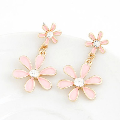 Emerald Pink Six Petal Flower Pendant Sweet Design Alloy Stud Earrings