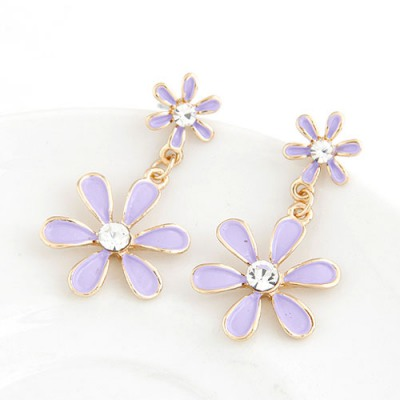 Tummy Purple Six Petal Flower Pendant Sweet Design Alloy Stud Earrings