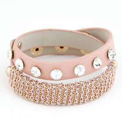 Reflective Pink Metal Chain&Diamond Decorated Design Alloy Korean Fashion Bracelet