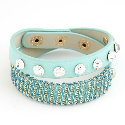 Hurley Blue Metal Chain&Diamond Decorated Design Alloy Korean Fashion Bracelet