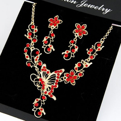 Peterbilt Red Butterfly Flower Decorated Design Alloy Jewelry Sets