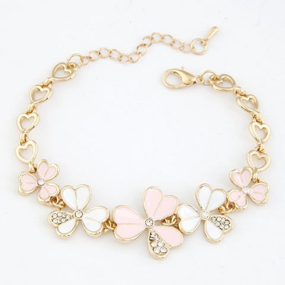 New Light Pink Three Petal Grass Decorated Design Alloy Korean Fashion Bracelet