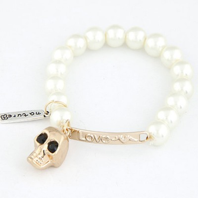 Rhinestone White Metal Skull Head Decorated Design Alloy Korean Fashion Bracelet