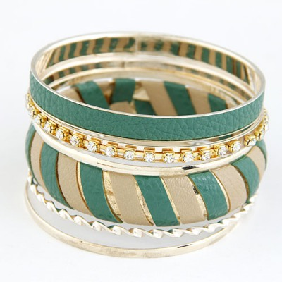 Oval Green Two Colors Leather Decorated Design Alloy Fashion Bangles