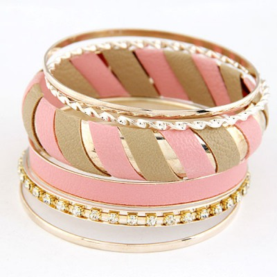 Engraved Pink Two Colors Leather Decorated Design Alloy Fashion Bangles