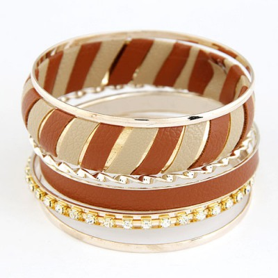 Ruby Brown Two Colors Leather Decorated Design Alloy Fashion Bangles