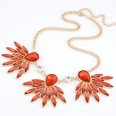 Discount Red Gemstone Decorated Design Alloy Bib Necklaces