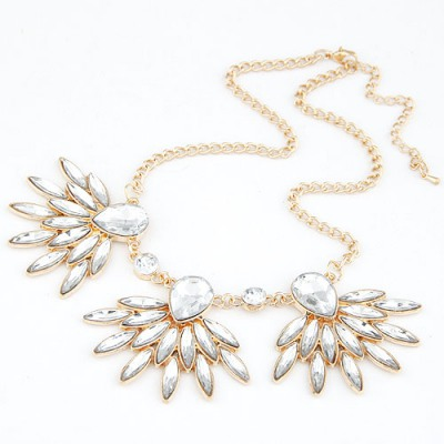 Automatic White Gemstone Decorated Design Alloy Bib Necklaces