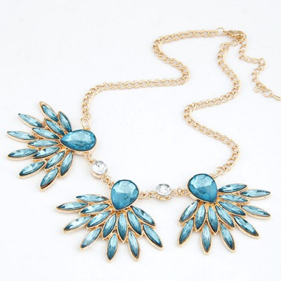 Luxurious Blue Gemstone Decorated Design Alloy Bib Necklaces