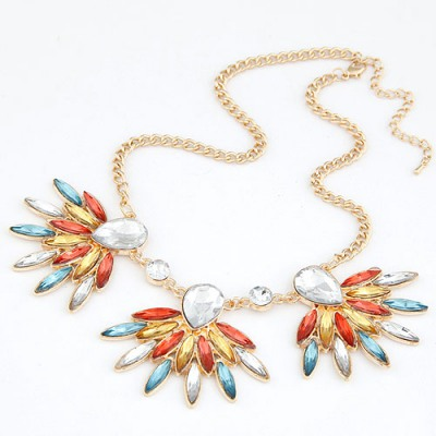 Antique Multicolor Gemstone Decorated Design Alloy Bib Necklaces