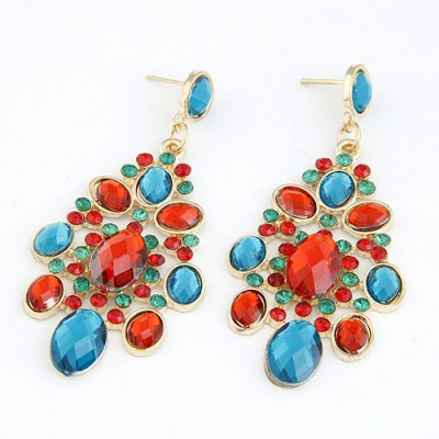 Stronglite Multicolor Colorful Sparkly Gemstone Decorated Alloy Korean Earrings