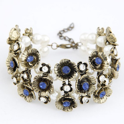 Christmas Sapphire Multilayer Vintage Flower Decorated Alloy Korean Fashion Bracelet