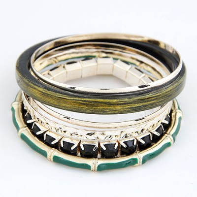 Contempora Green Bamboo Joint And Gemstone Decorated Alloy Fashion Bangles