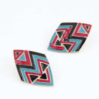 Memorable Picture Color Rhombus Simple Design Alloy Stud Earrings