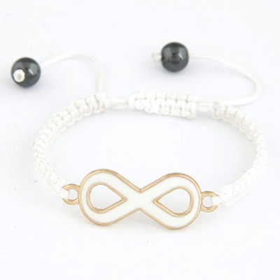Letterhead White 8 Shape Decorated Simple Design Alloy Korean Fashion Bracelet
