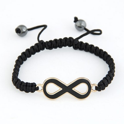 Locket Black 8 Shape Decorated Simple Design Alloy Korean Fashion Bracelet